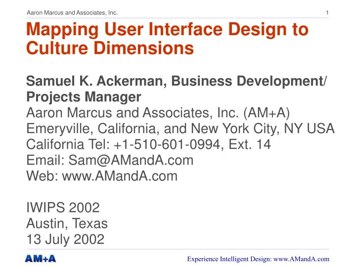 mapping user interface design to culture dimensions n.
