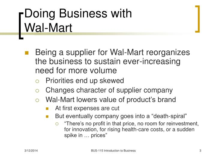 Doing business with wal mart