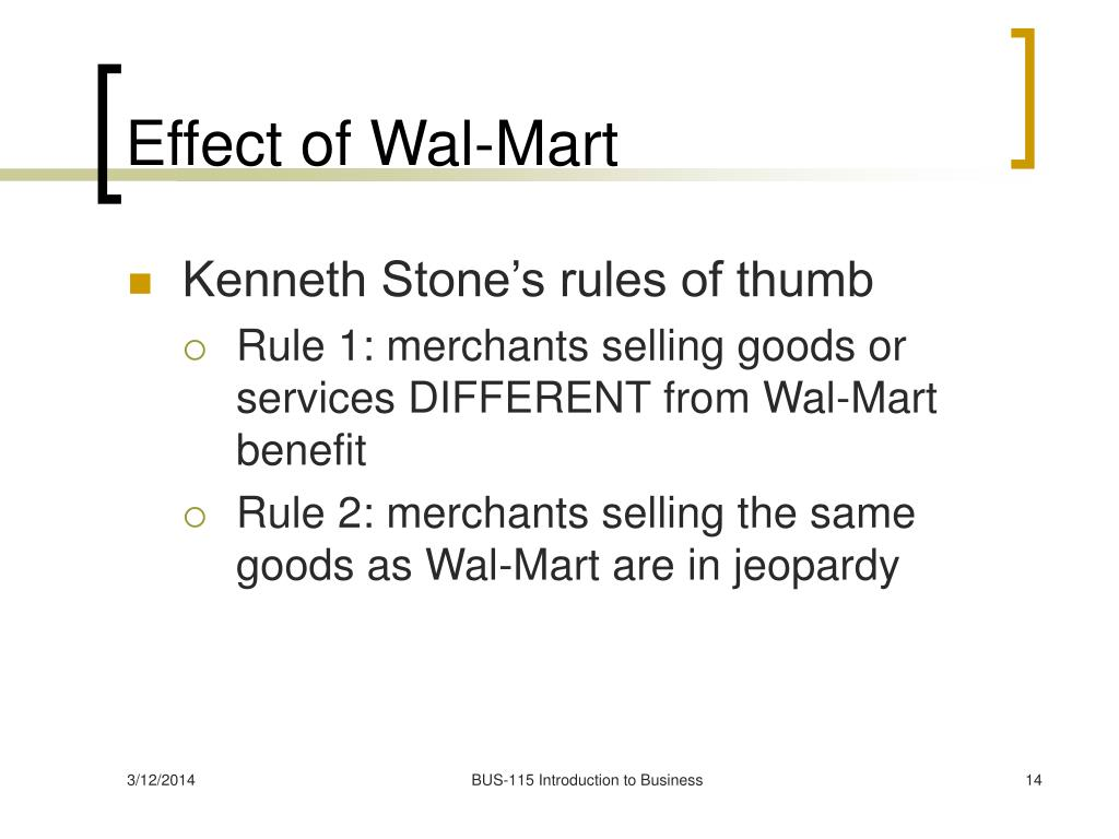 Effect of Wal-Mart