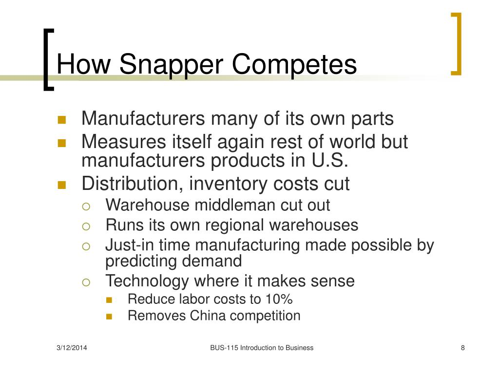How Snapper Competes