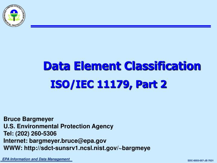 Data element classification iso iec 11179 part 2