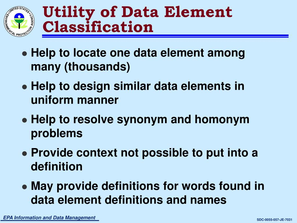 Utility of Data Element Classification