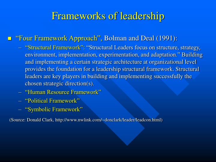 Frameworks of leadership
