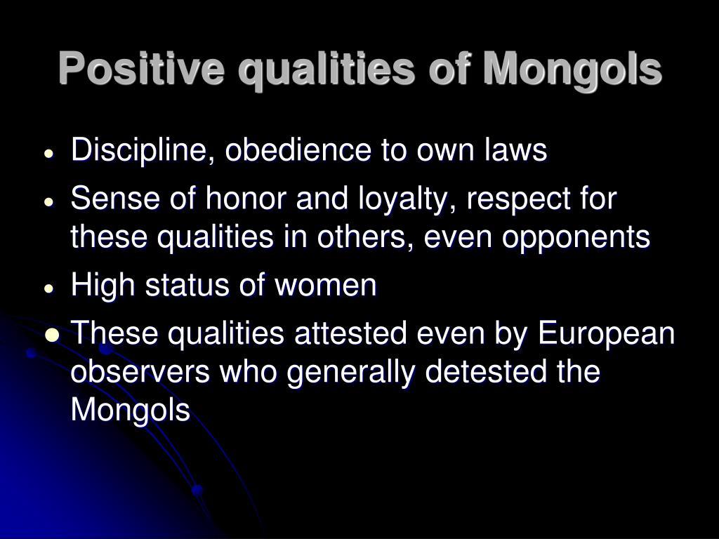 Positive qualities of Mongols