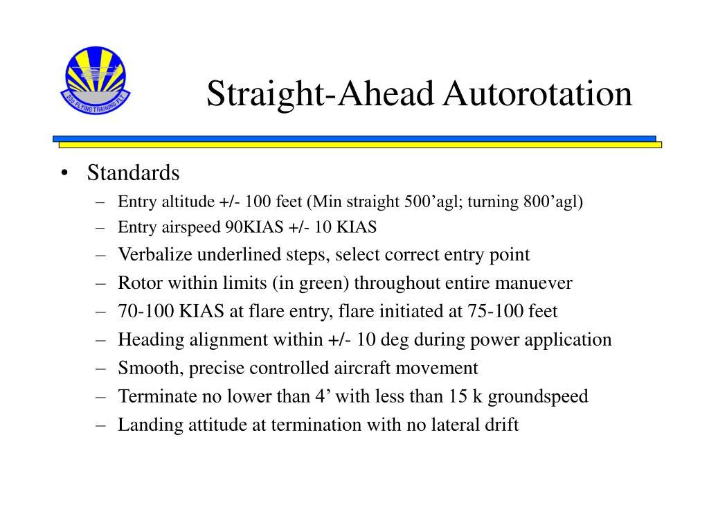 Straight-Ahead Autorotation