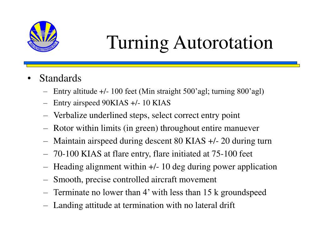 Turning Autorotation