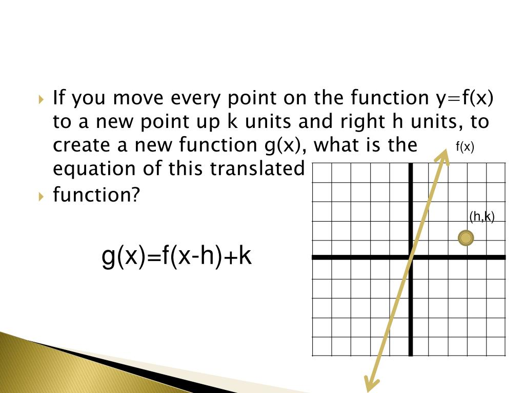If you move every point on the function y=f(x) to a new point up k units and right h units, to create a new function g(x), what is the equation of this translated