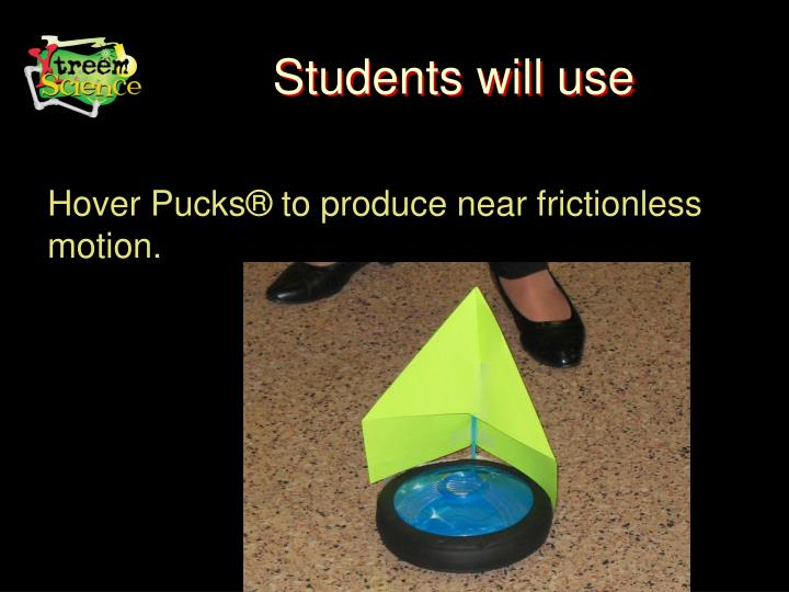 Students will use