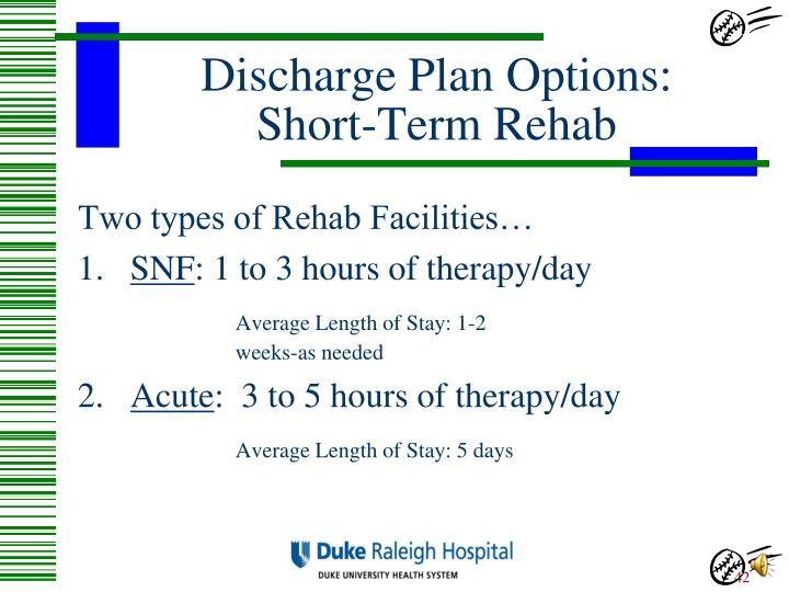 Discharge Plan Options: