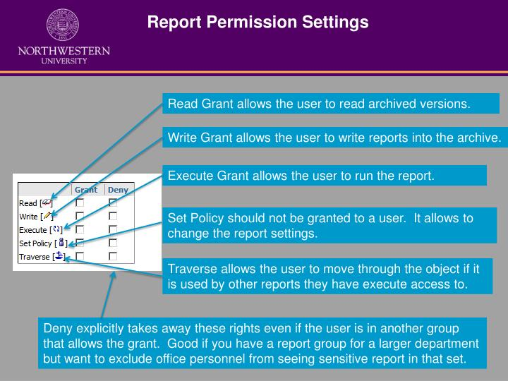 Report Permission Settings