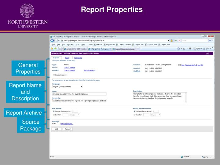 Report properties