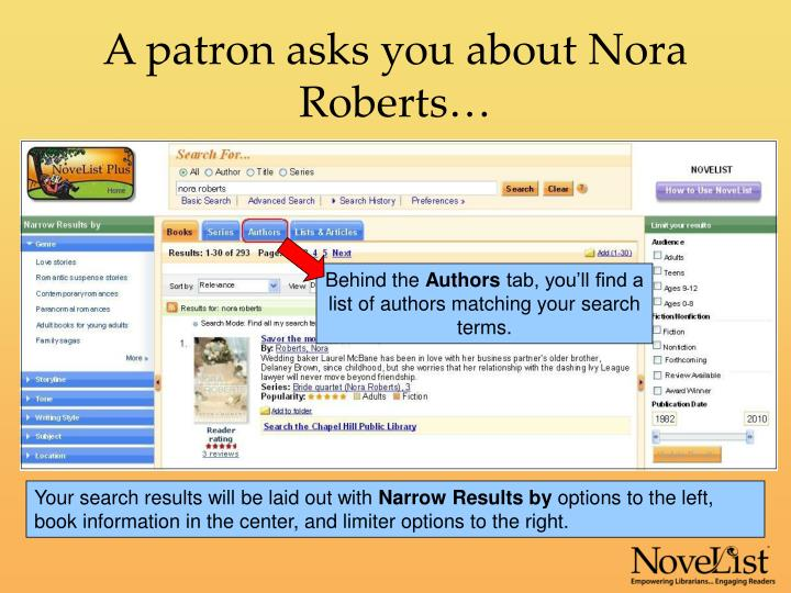A patron asks you about nora roberts