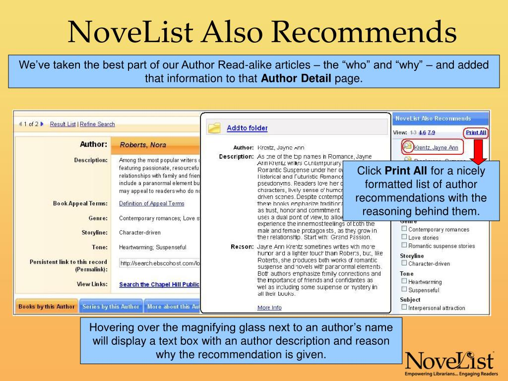 NoveList Also Recommends