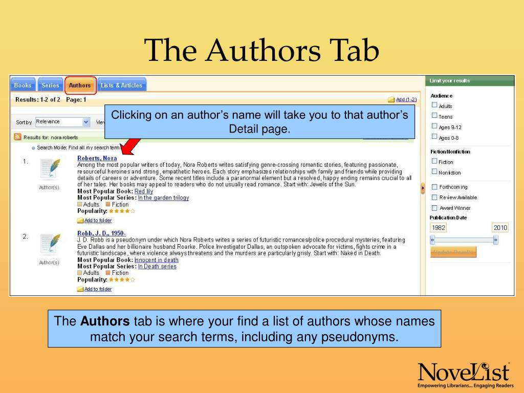 The Authors Tab