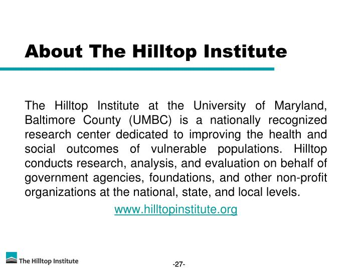 About The Hilltop Institute