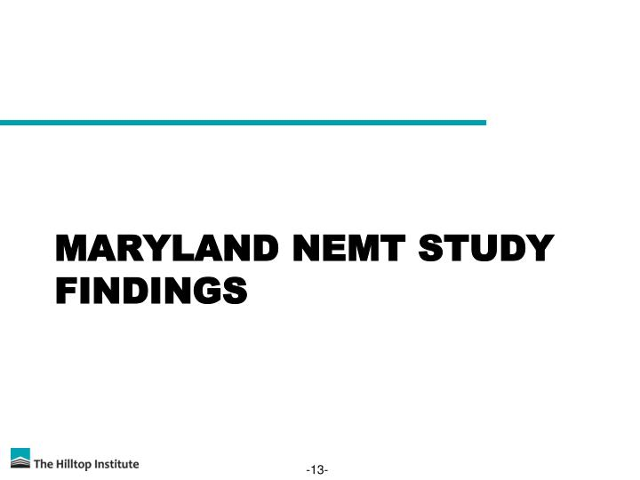 Maryland NEMT Study Findings