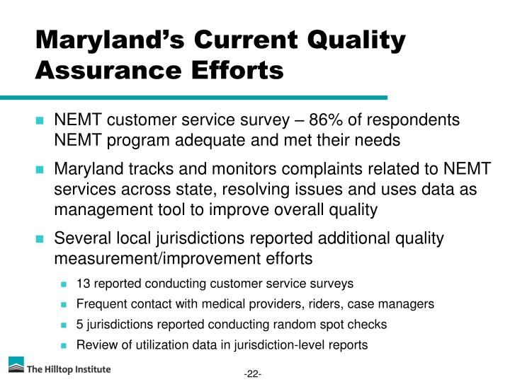 Maryland's Current Quality Assurance Efforts