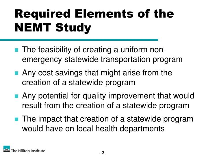 Required elements of the nemt study