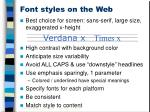 font styles on the web