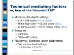 technical mediating factors or fear of the dreaded 216