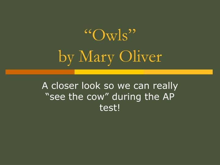owls by mary oliver n.