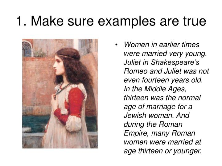 1 make sure examples are true