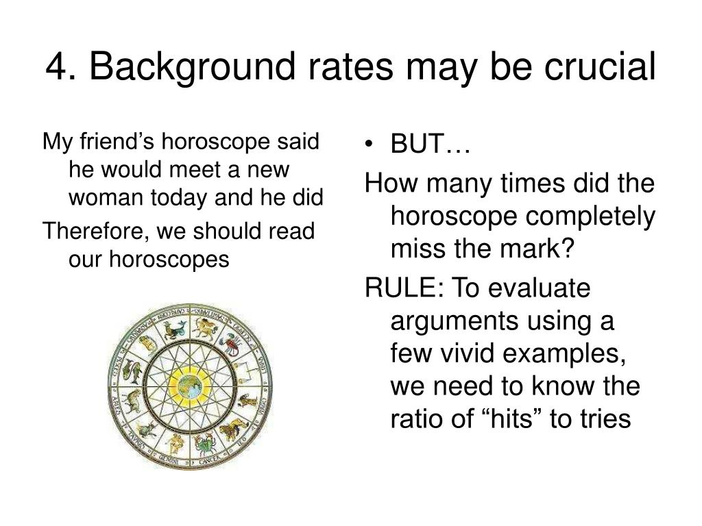 4. Background rates may be crucial