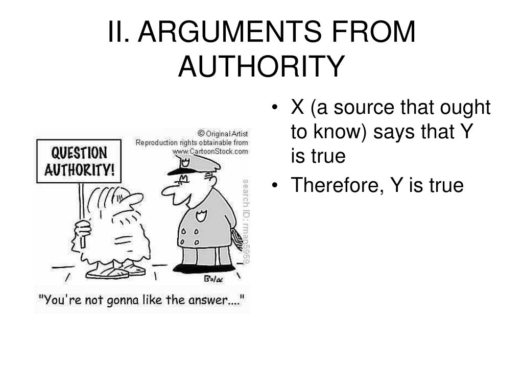 II. ARGUMENTS FROM AUTHORITY
