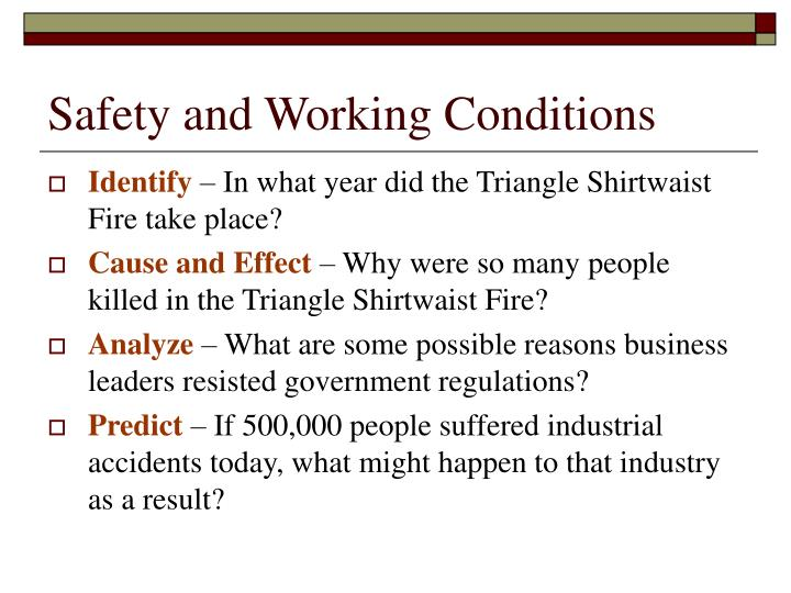 Safety and Working Conditions