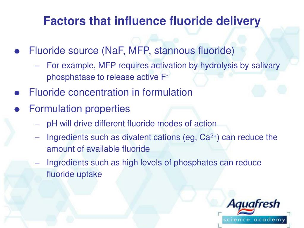 Factors that influence fluoride delivery