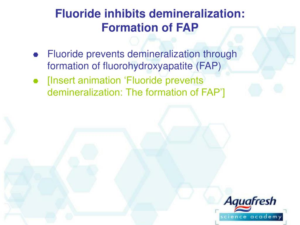 Fluoride inhibits demineralization: Formation of FAP