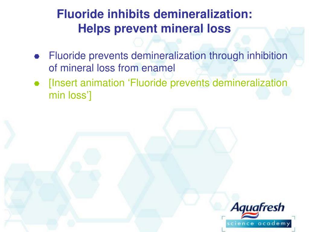 Fluoride inhibits demineralization: