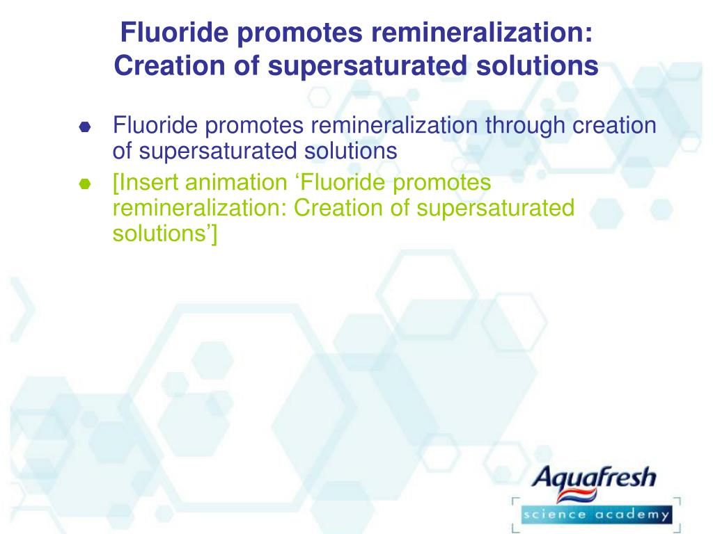 Fluoride promotes remineralization: Creation of supersaturated solutions