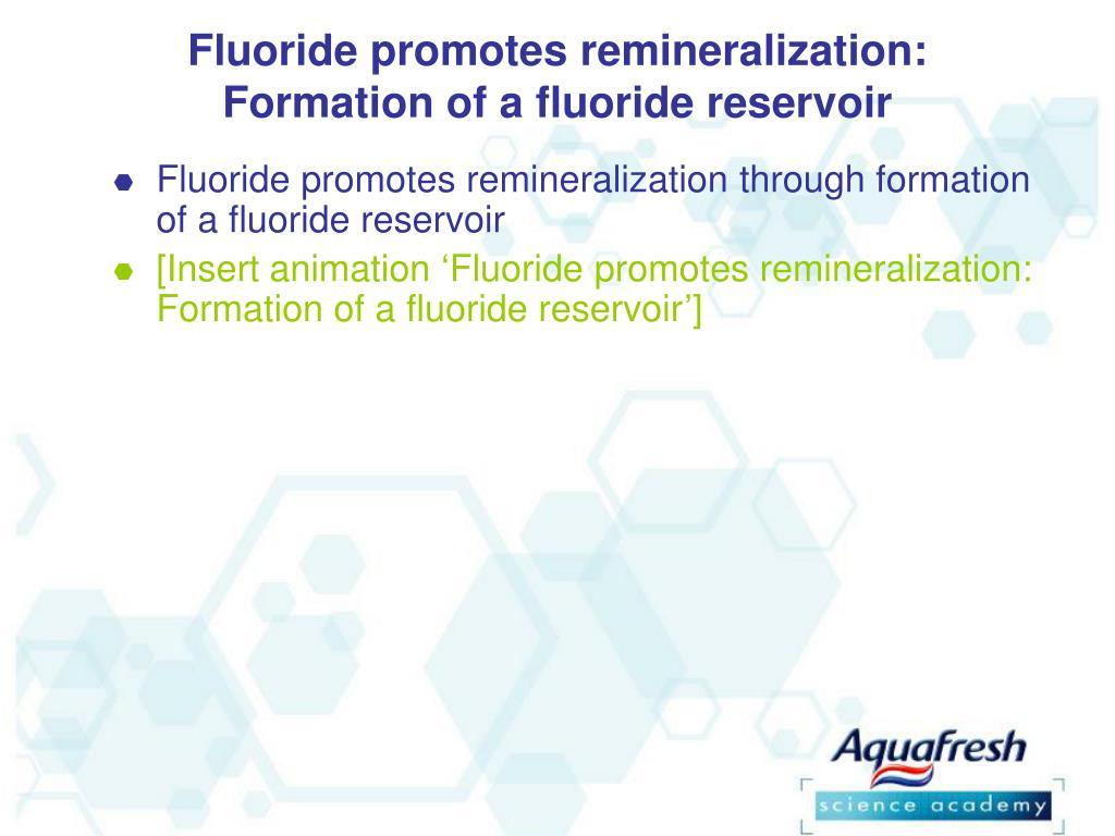 Fluoride promotes remineralization: Formation of a fluoride reservoir
