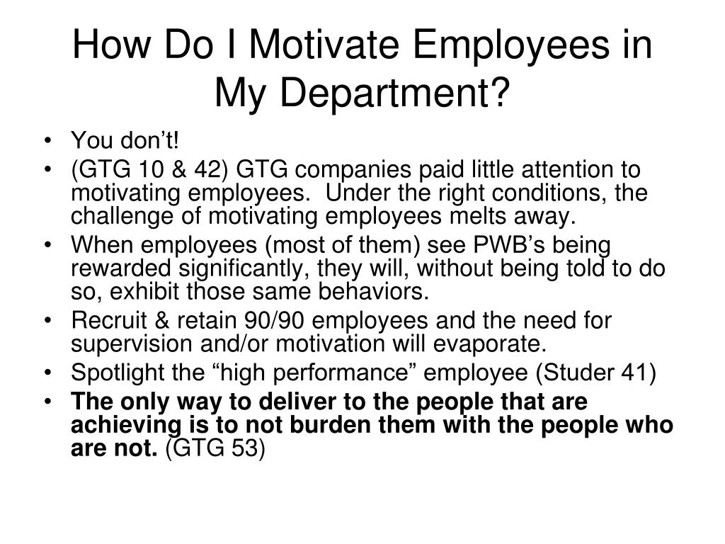 How Do I Motivate Employees in My Department?