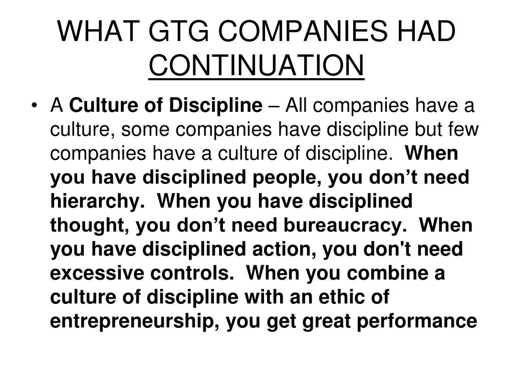 WHAT GTG COMPANIES HAD