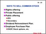 ways to sell common stock