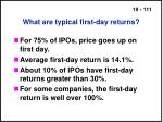 what are typical first day returns111