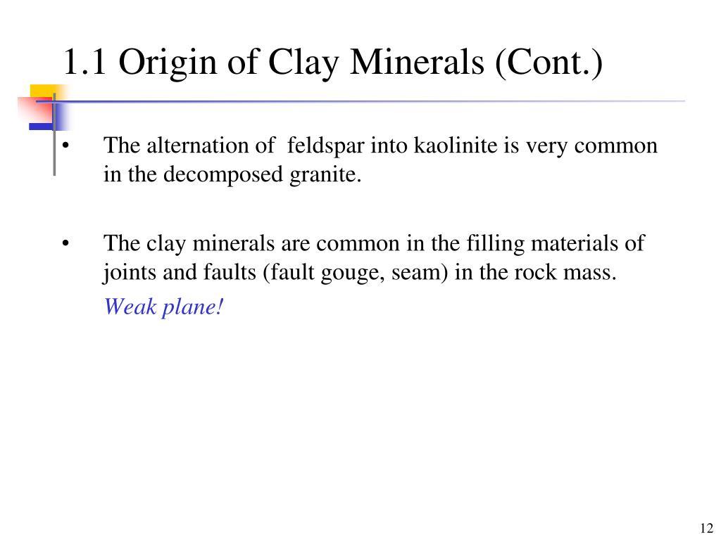 1.1 Origin of Clay Minerals (Cont.)