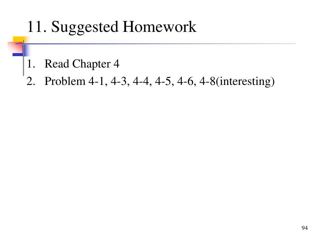 11. Suggested Homework