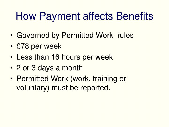 How Payment affects Benefits