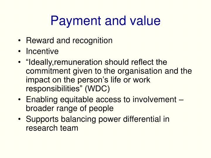 Payment and value