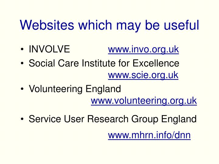 Websites which may be useful