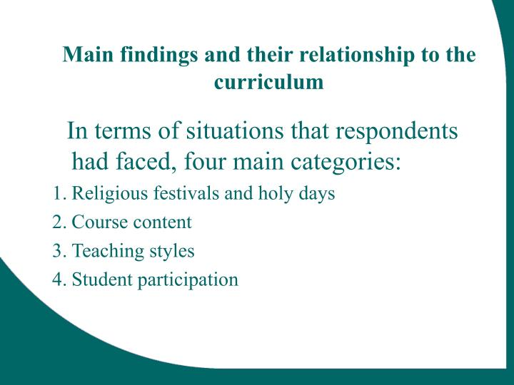 Main findings and their relationship to the curriculum