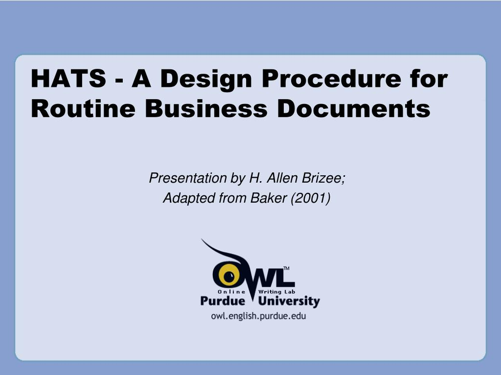 hats a design procedure for routine business documents l.