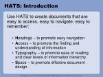 hats introduction