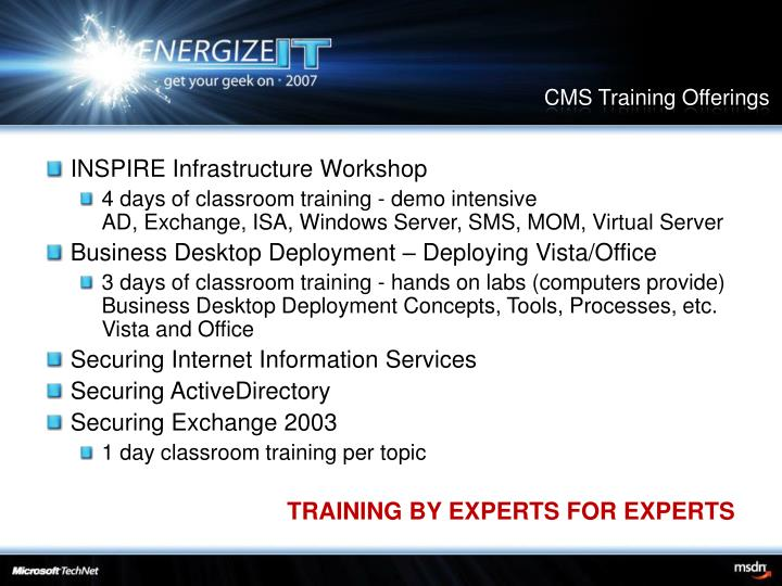 CMS Training Offerings