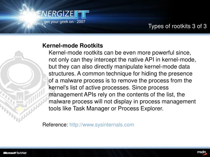 Types of rootkits 3 of 3