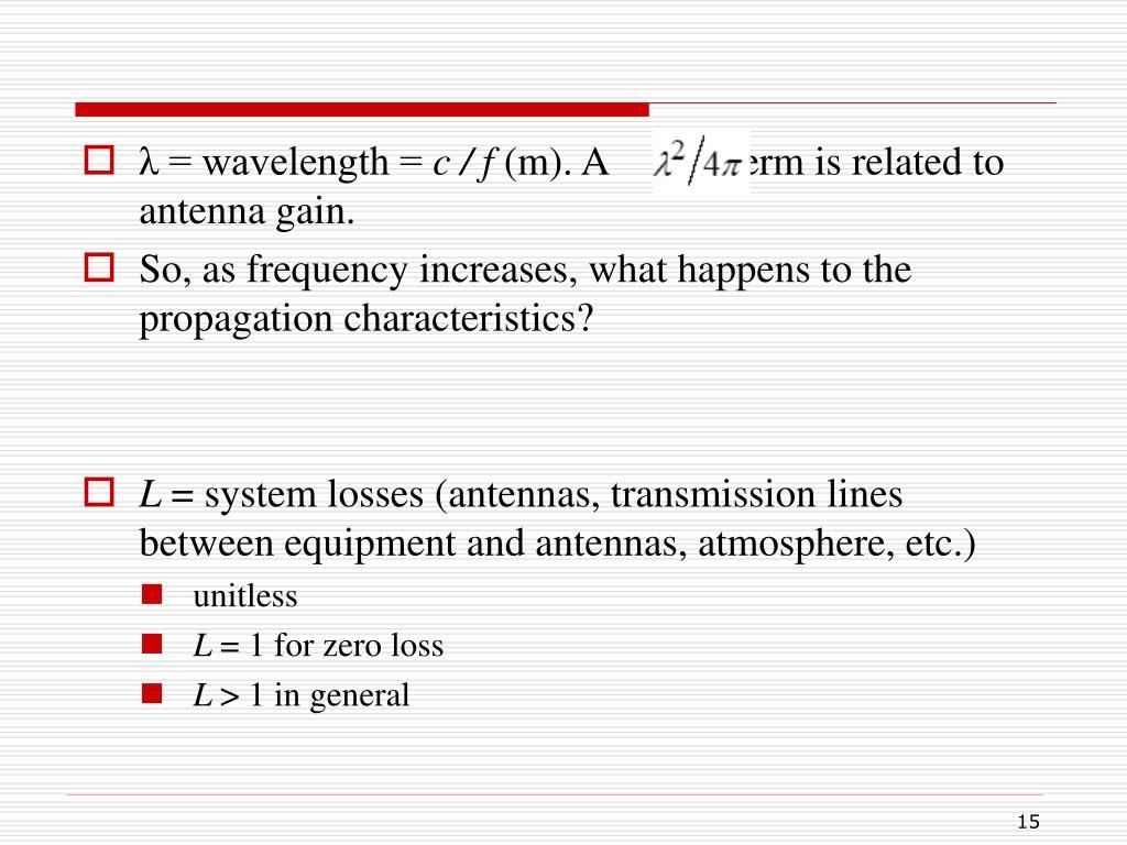 λ = wavelength =
