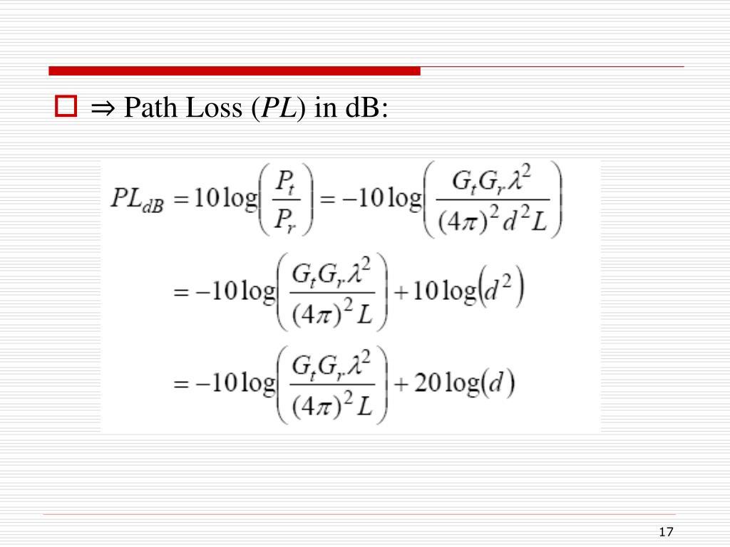 ⇒ Path Loss (